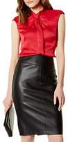 Karen Millen Strong Shoulder Drape Top, Raspberry