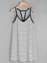 Romwe Cutout Strappy Racerback Striped Cami Dress