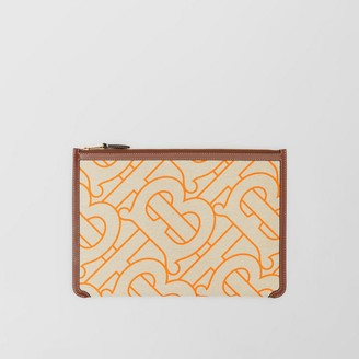 Burberry Monogram Motif Canvas and Leather Pouch