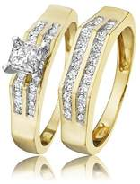 My Trio Rings 7/8 CT. T.W. Princess Cut Diamond Solitaire Bridal Ring Set 14K Yellow Gold