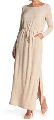 Threads And States Hacci Knit Long Sleeve Split Hem Dress