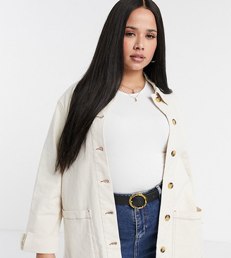 Vero Moda Curve denim shacket in cream