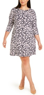 MSK Plus Size Grommet-Detail Floral Dress