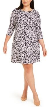 MSK Plus Size Grommet-Detail Floral Dress