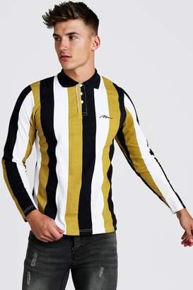 BoohoomanBoohooMAN Mens Yellow MAN Signature Stripe Pique Long Sleeve Polo, Yellow