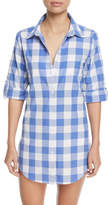 Nanette Lepore Button-Front Gingham Cotton Coverup Shirt