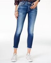 7 For All Mankind Raw-Hem Ankle Skinny Jeans, Dark Blue Wash