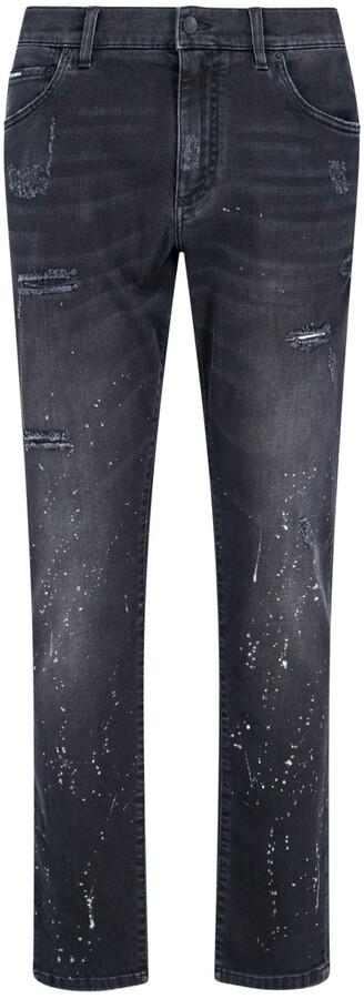Dolce & Gabbana Paint Splatter Distressed Jeans