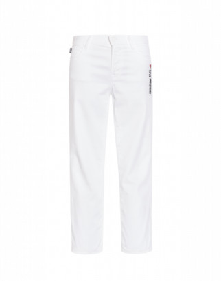 Love Moschino Trousers With Heart And Logo Woman White Size 26 It - (4 Us)