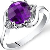 Ice 1 6/7 CT TW Genuine Amethyst 14K White Gold 3-Stone Ring with Diamond Accents