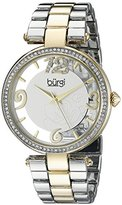 Burgi Women's BUR148TTG Yellow Gold and Silver Quartz Watch with Swarovski Crystal Accents and Silver and See Thru Dial With Yellow Gold and Silver Bracelet