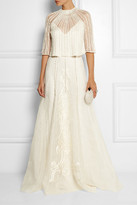 Temperley London Crivelli Embellished Embroidered Silk-organza Maxi Skirt - Ivory