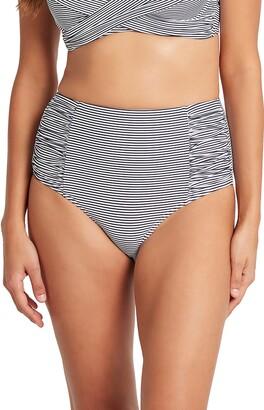 Sea Level Seal Level High Waist Stripe Bikini Bottoms