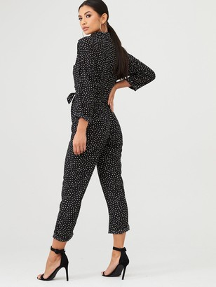 AX Paris Spot Print Belted Jumpsuit - Black