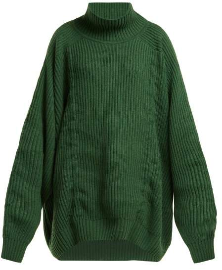 Hillier Bartley Oversized Gathered Cashmere Sweater - Womens - Green