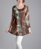 Lily Rust & Teal Abstract Scoop Neck Tunic - Plus Too