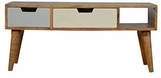 Camilla And Marc Artisan Furniture TV Cabinet, Wood, Blue Painted/Oak/Ish, 90 x 35 x 40 cm