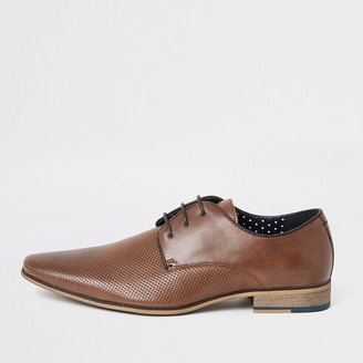 River Island Mid brown textured derby shoes