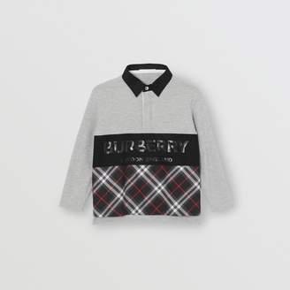 Burberry Childrens Long-sleeve Logo Print Check Panel Polo Shirt