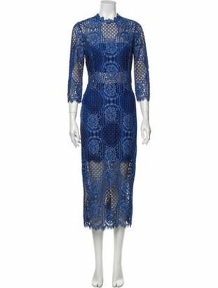 Alexis Lace Pattern Midi Length Dress Blue