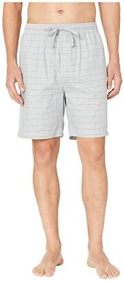 Nautica Windowpane Plaid Sleep Shorts (Neutral Grey) Men's Pajama
