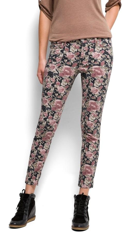 MANGO Floral print cropped jeans