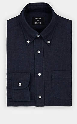 Fairfax Men's Herringbone Cotton-Wool Dress Shirt - Navy