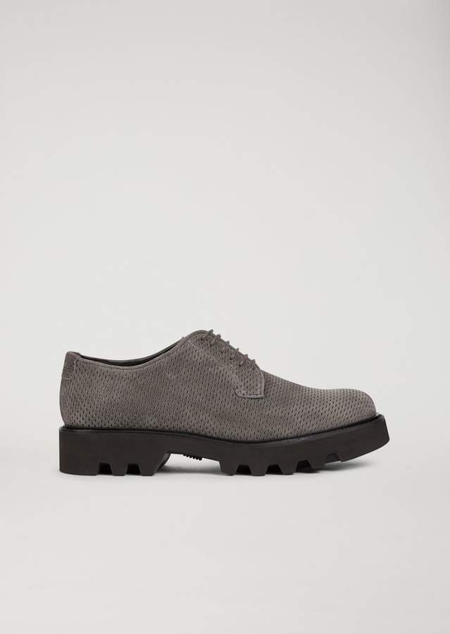 Emporio Armani Derby In Textured Calfskin Leather