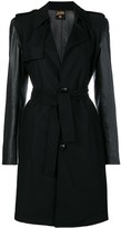 Faux-Leather Sleeves Belted Coat