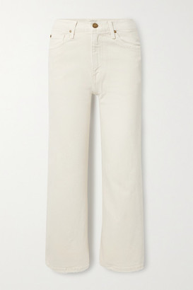 The Great The Riderette Cropped High-rise Wide-leg Jeans - Off-white