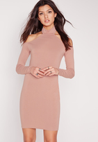 Missguided Jersey Long Sleeve Choker Mini Dress Pink