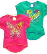 Beautees Kids Shirt, Girls Graphic High-Low Tee and Necklace