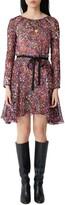 Maje Long Sleeve Belted Floral Silk Dress