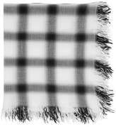 Attachment White and Black Rayon Silk Check Scarf