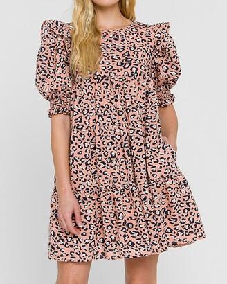 Express La'Ven Leopard Print Puff Sleeve Mini Dress