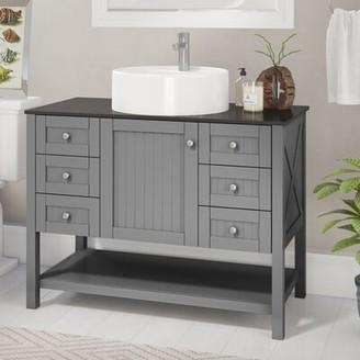 "Beachcrest Home Nadler 42"" Single Bathroom Vanity Base Finish: Gray"
