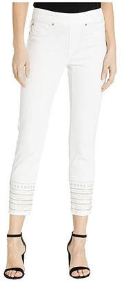 Tribal Pull-On Ankle Jeggings w/ Embroidery at Hem in White (White) Women's Jeans