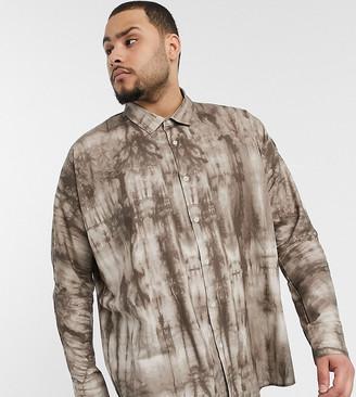 ASOS DESIGN Plus oversized batwing shirt in marble print