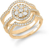 FINE JEWELRY Womens 1 CT. T.W. White Cubic Zirconia 14K Gold Over Silver Bridal Set