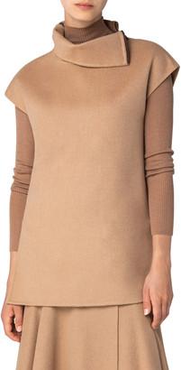Akris Camel Hair High-Neck Slit Tunic with Zipper