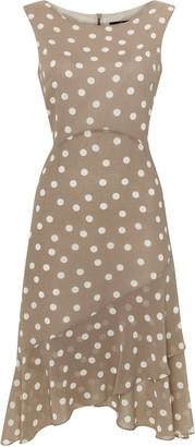 Wallis **TALL Taupe Polka Dot Fit and Flare Dress