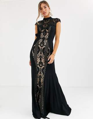 Jovani high neck lace fishtail dress-Multi