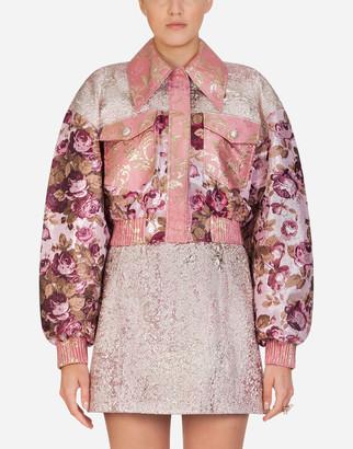 Dolce & Gabbana Lurex Floral Jacquard Bomber Jacket