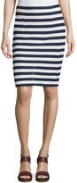 Diane von Furstenberg Walda Striped Knit Pencil Skirt, White/Navy