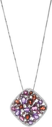 Amethyst & Rhodolite Mosaic Pendant w/ Chain, Sterling Silver