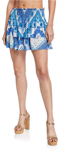 Ramy Brook Sibyl Printed Smocked Short Skirt