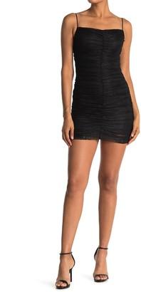 Lush Ruched Lace Mini Dress
