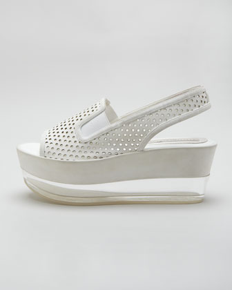 Stella McCartney Perforated Leather Lucite Flatform Sandal