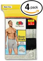 Fruit of the Loom Men's 4Pack Black Grey Boxer Briefs 100% Cotton Underwear 2XL