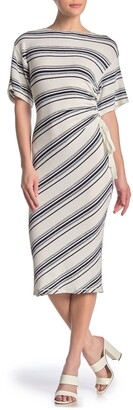 Max Studio Striped Cinched Side Midi Dress